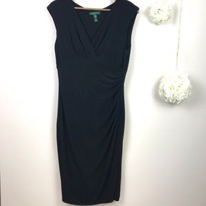 Lauren Ralph Lauren Black Faux Wrap Dress 12